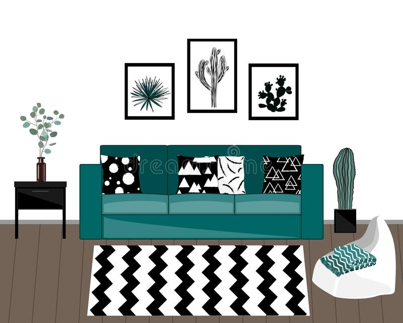 Scandinavian style livingroom interior with black and white carpet, blue sofa with ornamented pillows, home plants, and white wall vector illustration