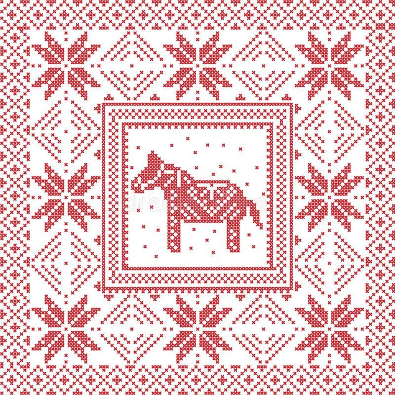 Scandinavian Style Nordic Winter Cross Stitch Knitting Stock Vector