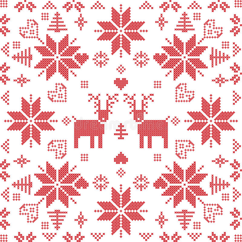 Scandinavian style Nordic winter stich, knitting seamless pattern royalty free illustration