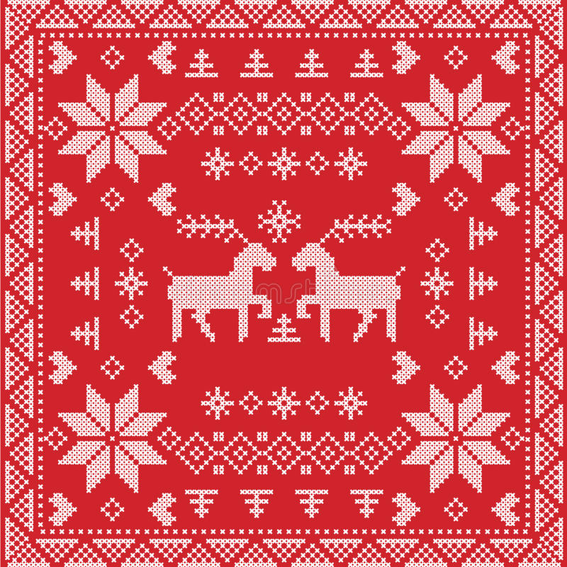 download style nordic winter stitch knitting seamless pattern in square tile shape including