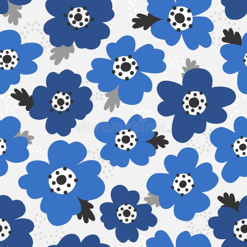 Scandinavian style poppies vector light gray & blue pattern royalty free stock image