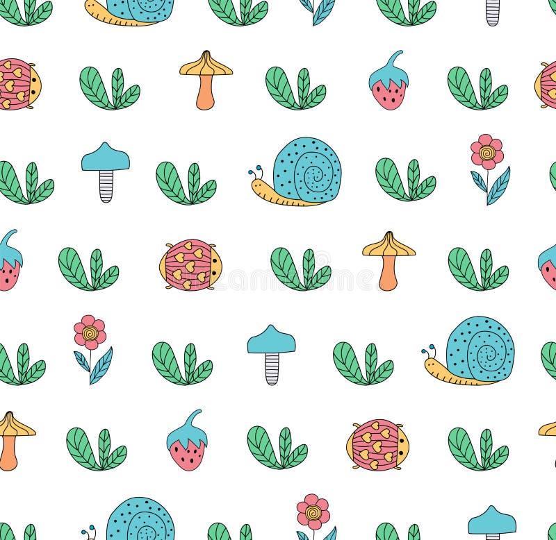Scandinavian style seamless pattern with cartoon snail, mushroom royalty free illustration