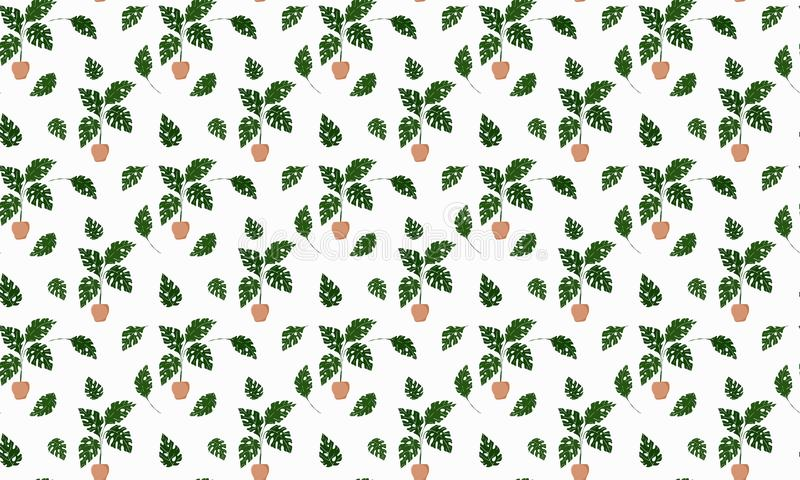 Scandinavian style seamless pattern. Tropical monstera plants growing in pots and single leaves on a white background. For fabric, royalty free illustration