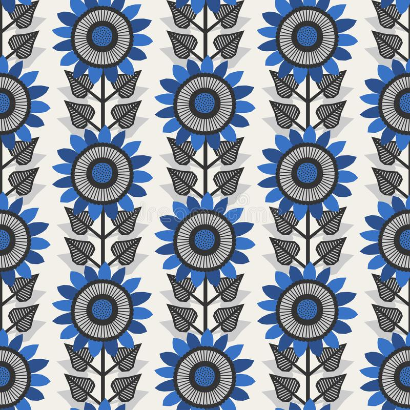 Scandinavian style sunflowers vector gray and blue pattern royalty free stock image