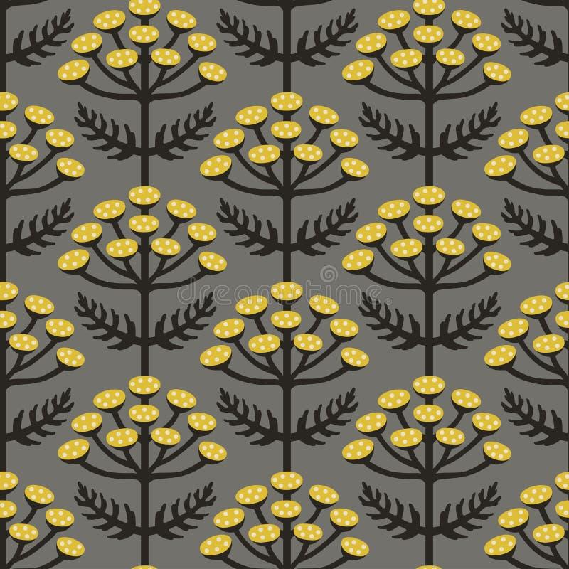 Scandinavian style tansy vector gray & yellow seamless pattern stock image