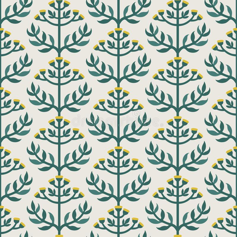 Scandinavian style tansy vector green & yellow seamless pattern royalty free stock photography