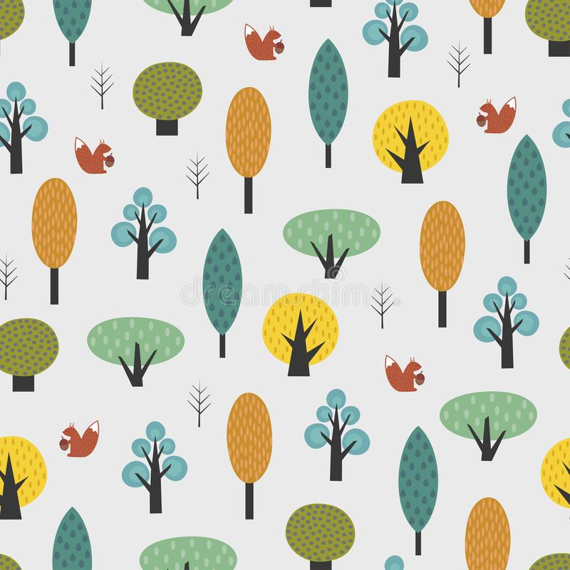 Scandinavian style trees with baby squirrel seamless pattern. stock illustration