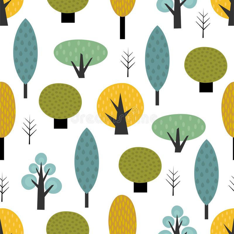 Scandinavian style trees seamless pattern on white background. royalty free illustration