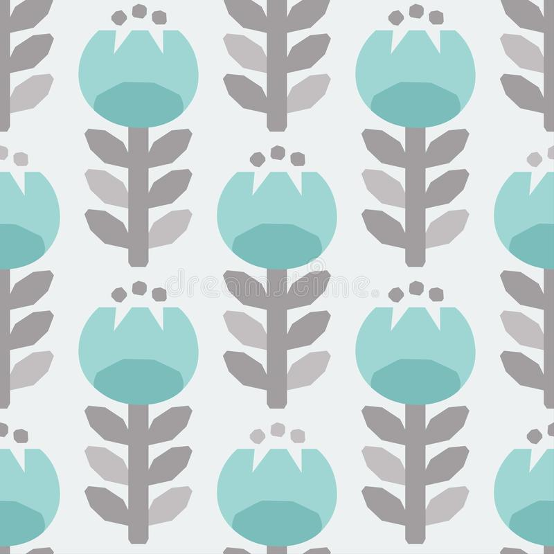 Scandinavian style tulips vector gray and light blue pattern stock photo