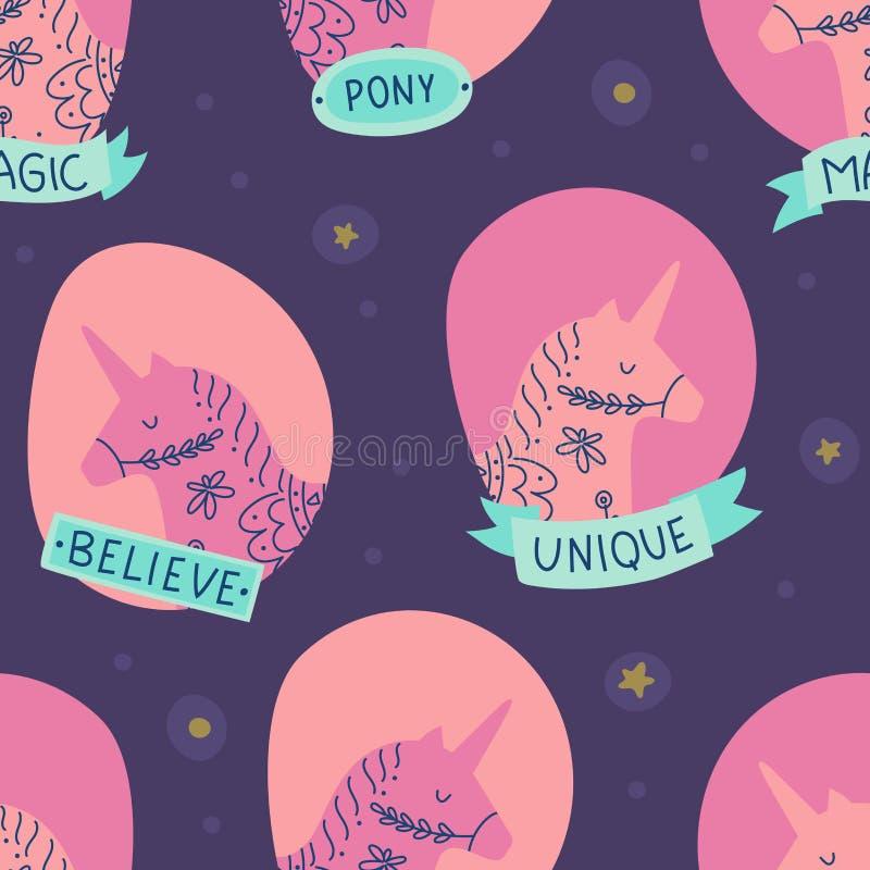 Unicorn heads Seamless pattern vector illustration