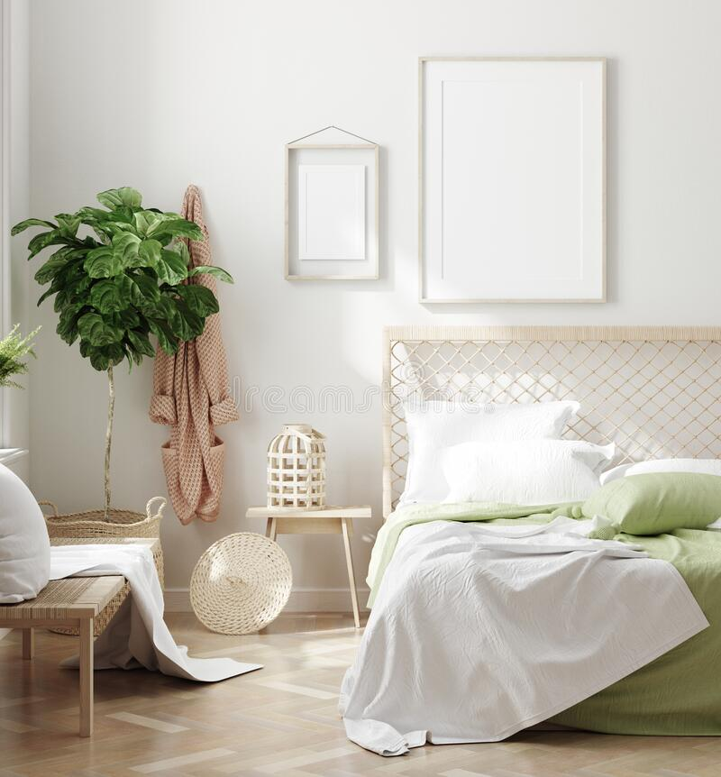 Free Scandinavian Style White Fresh Bedroom Interior With Mockup Frames On Wall Stock Images - 190030384