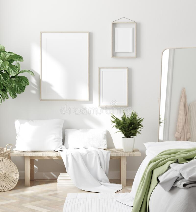 Free Scandinavian Style White Fresh Bedroom Interior With Mockup Frames On Wall Royalty Free Stock Image - 190030386