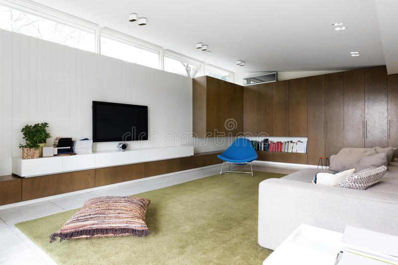 Scandinavian styled contemporary living room with walnut cabinet royalty free stock photos