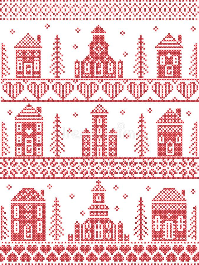 Scandinavian Tall  Christmas pattern including Nordic Christmas scenery  Winter Village Church , house, cottages, town hall in cro. Ss stitch with heart vector illustration