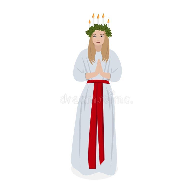 Scandinavian tradition Saint Lucys. Vector stock illustration