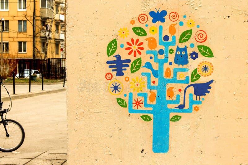 Scandinavian Tree Of Life On The Wall Stock Image - Image of multi ...