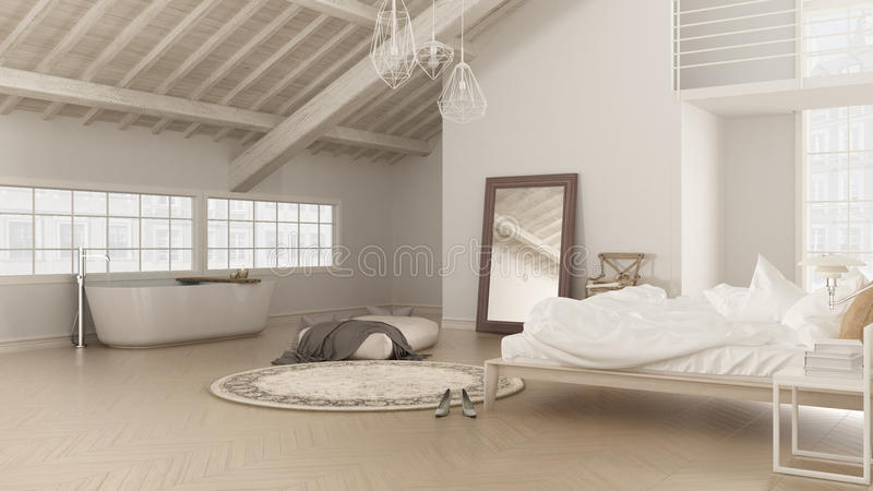 Scandinavian white bedroom, loft interior design, minimalistic b royalty free stock image