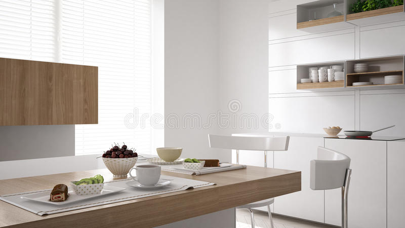 Scandinavian white kitchen with breakfast close up, minimalistic interior design stock photo