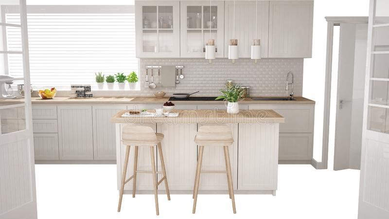 Scandinavian white kitchen with island and accessories, interior design concept idea, isolated on white background with copy space. Contemporary furniture idea stock illustration