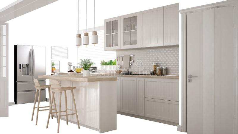 Scandinavian white kitchen with island and accessories, interior design concept idea, isolated on white background with copy space stock illustration