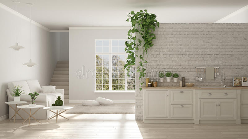 Scandinavian white minimalist living with kitchen, open space, o royalty free illustration