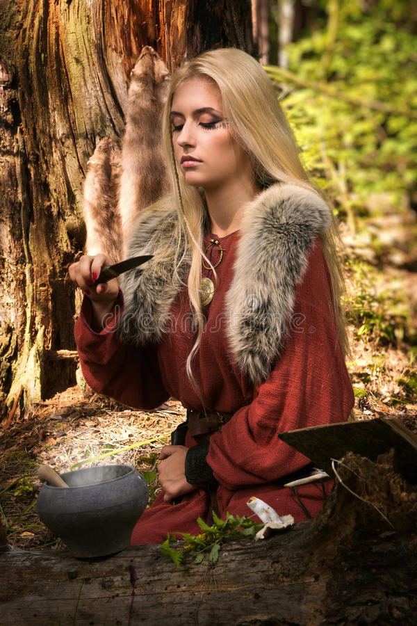 Scandinavian Witch Pythoness Cooking Potion Royalty Free Stock Photography
