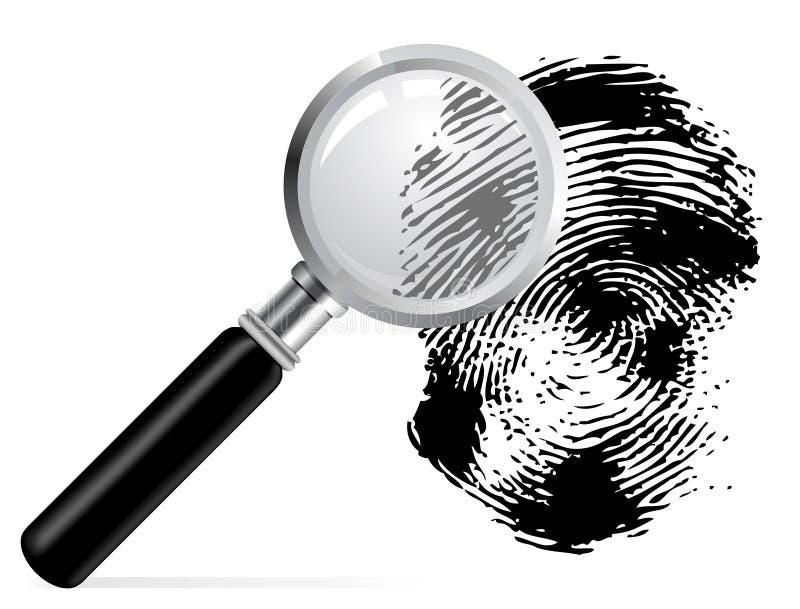 scaned fingeravtryckförstoringsapparat royaltyfri illustrationer