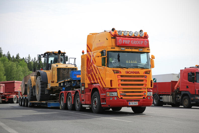 Scania G580 Semi Heavy Transport at Truck Stop stock images