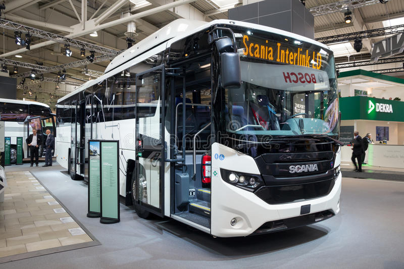 Scania Interlink LD city bus. HANNOVER, GERMANY - SEP 21, 2016: Scania Interlink LD bus on display at the International Motor Show for Commercial Vehicles royalty free stock photos