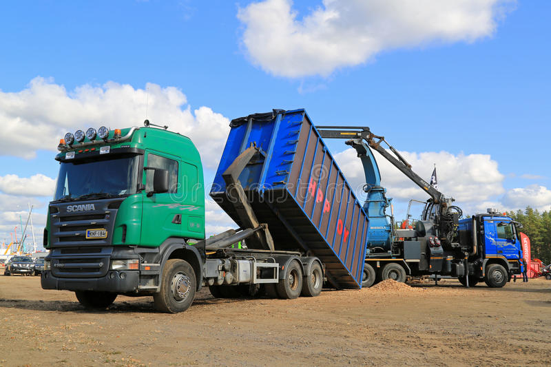 Scania R580 Woodchip Truck with Woodchipper royalty free stock image