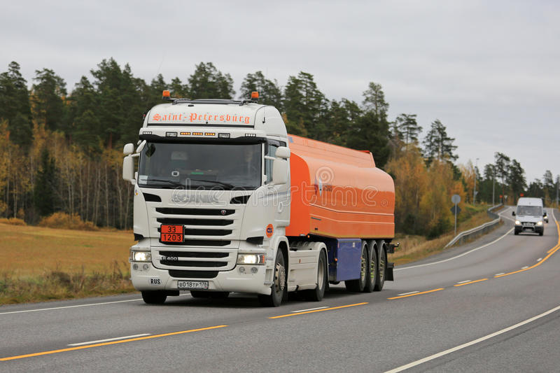 Scania Semi Fuel Tanker among Traffic stock photography