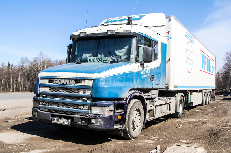 Scania T400. CHELYABINSK REGION, RUSSIA - APRIL 14, 2012: Semi-trailer truck Scania T400 at the interurban road royalty free stock photography