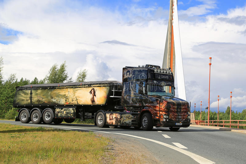 Scania T580 Resident Evil and Bridge royalty free stock photography