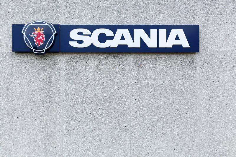 Scania znak na ścianie obraz royalty free