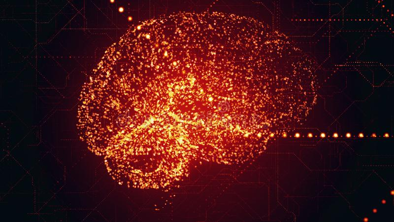Scannen helle rote apperas Gehirn künstlicher Intelligenz Digital in den binären Daten lizenzfreie abbildung