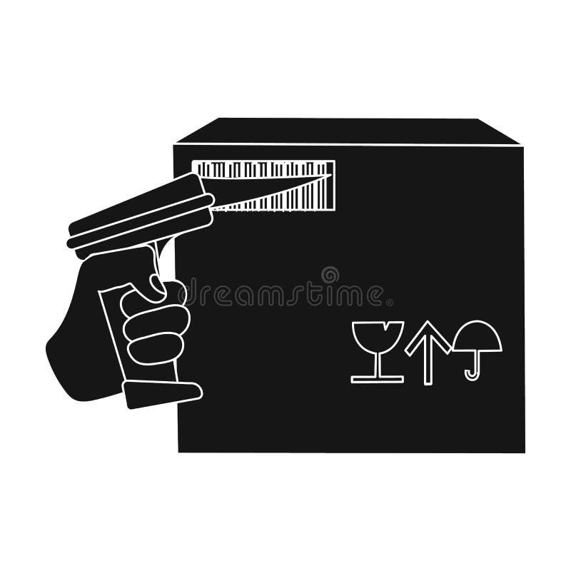 Scannen Sie den Strichkode auf dem Kasten Logistik und einzelne Ikone der Lieferung Vektorsymbolauf lager der schwarzen Art isome stock abbildung