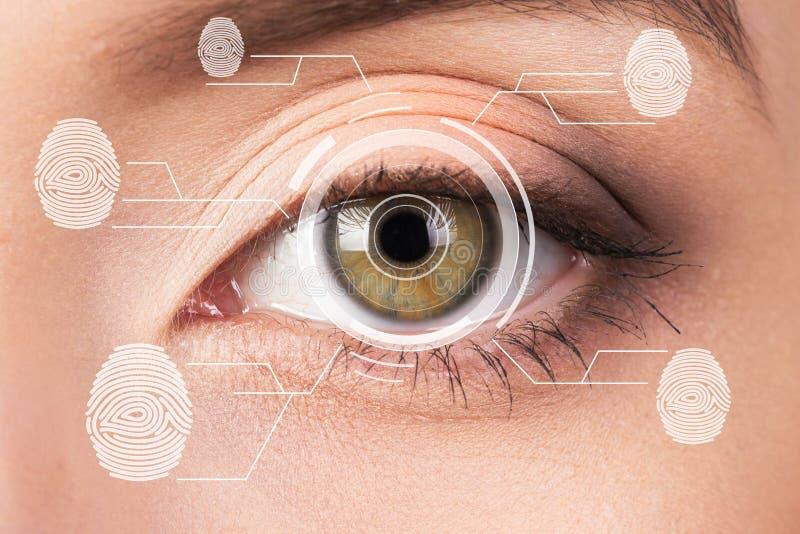 Scanner biométrique de rétine de sécurité Empreinte digitale d'oeil de jeune femme, empreinte photos libres de droits
