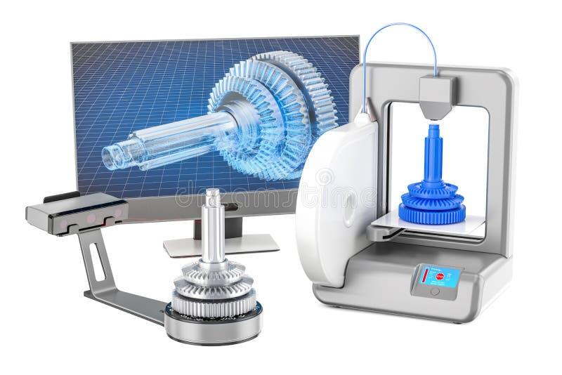 Scanner 3d, Drucker 3d und Computermonitor, Wiedergabe 3D lizenzfreie abbildung