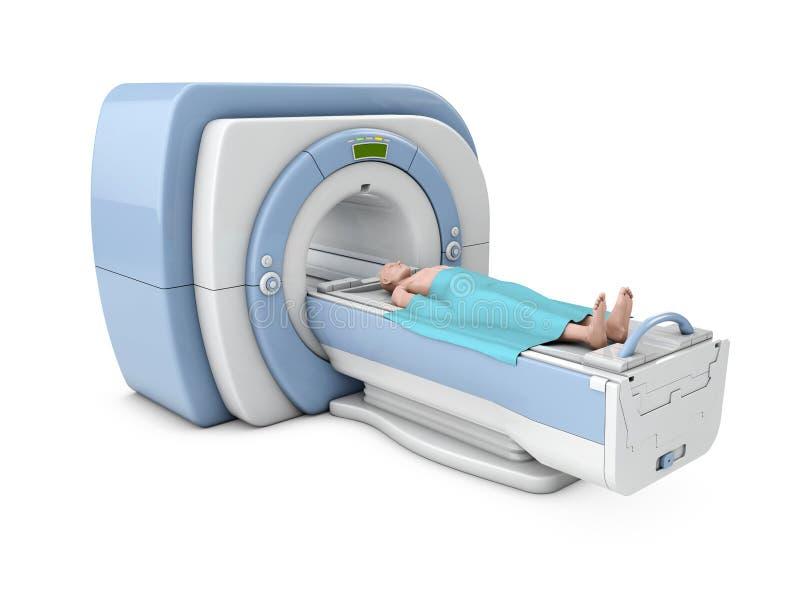Scanner d'IRM Représentation de résonance magnétique de corps Illustration diagnostique du concept 3d de médecine illustration stock