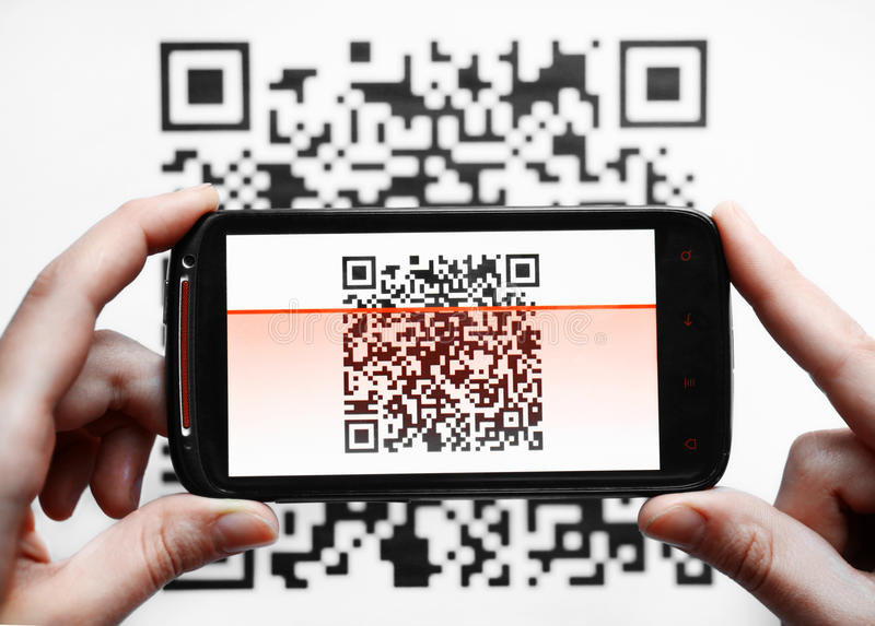 Scanner de mobile de code de QR image libre de droits