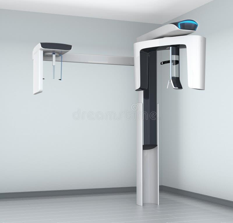 Scanner dentaire de CT dans l'intérieur de clinique avec l'équipement céphalométrique illustration libre de droits