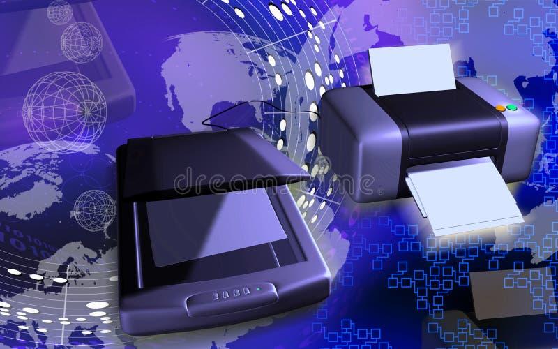 Scanner e stampante illustrazione vettoriale