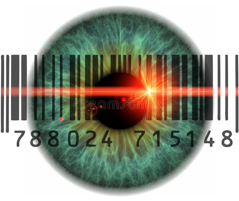 Scanner eyes. Konzept photo of eyes with barcodes and qr codes vector illustration