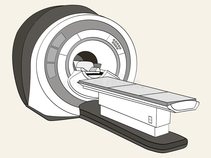 Scanner geautomatiseerde tomografiescanner, magnetic resonance imagingsmachine, medische apparatuur Objecten Schaduwen van grijs vector illustratie
