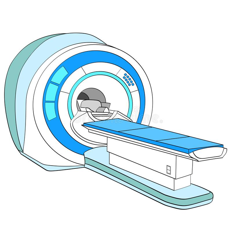 Scanner geautomatiseerde tomografiescanner, magnetic resonance imagingsmachine, medische apparatuur Voorwerp op wit vector illustratie