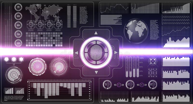Scanners de vérification réglés Balayage de doigt dans le style futuriste Identification biométrique avec HUD Interface futuriste illustration de vecteur