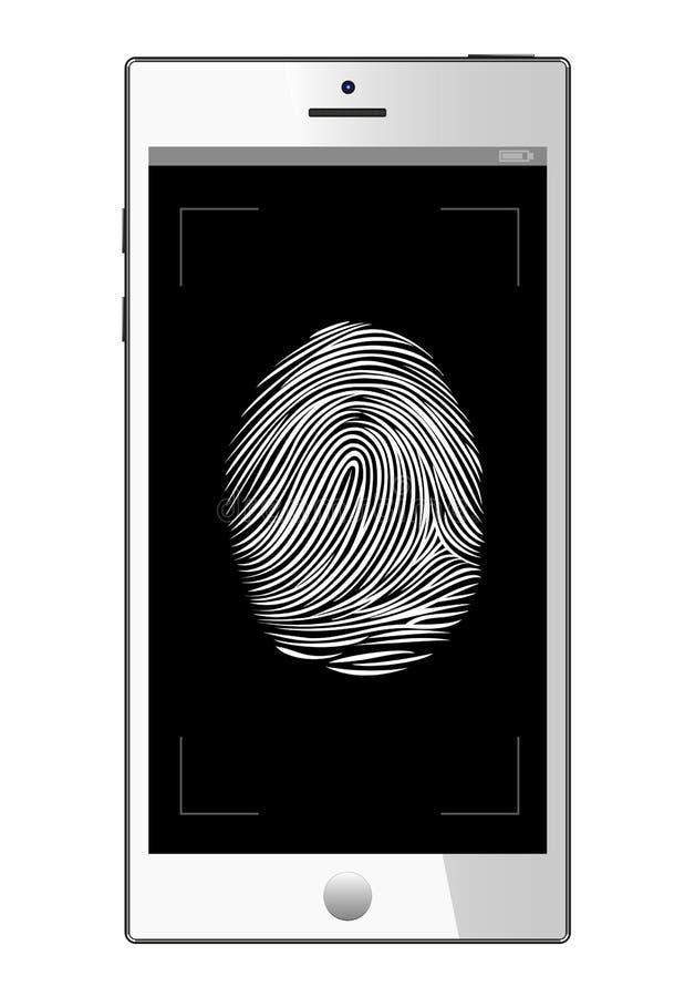 Scannervingerafdruk in smartphone Mobiele telefoon Witte achtergrond veiligheid identificatie, royalty-vrije illustratie