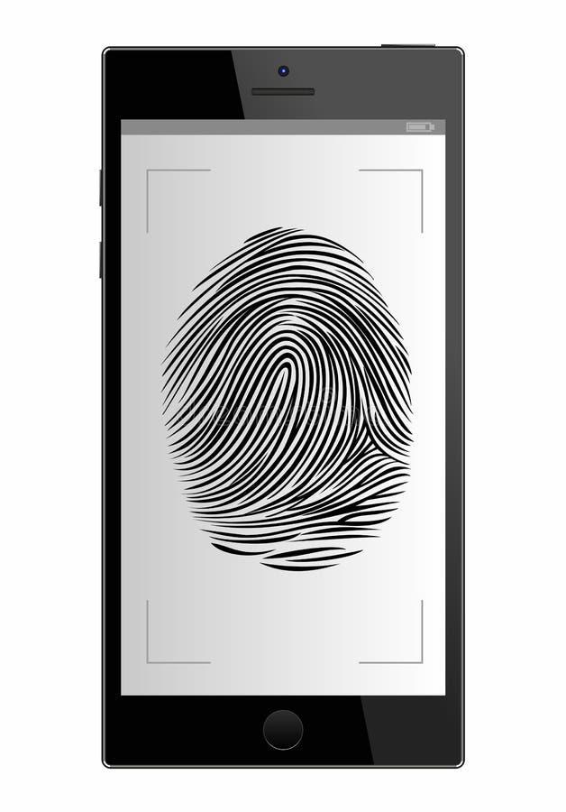 Scannervingerafdruk in smartphone Mobiele telefoon Witte achtergrond veiligheid toegangsidentificatie, stock illustratie