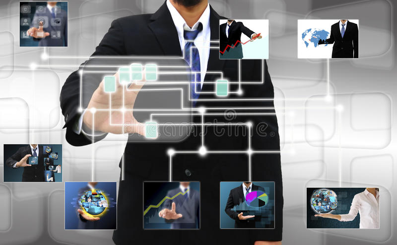 Scanning of a finger on a touch screen interface. Businessman scanning of a finger on a touch screen interface royalty free stock images