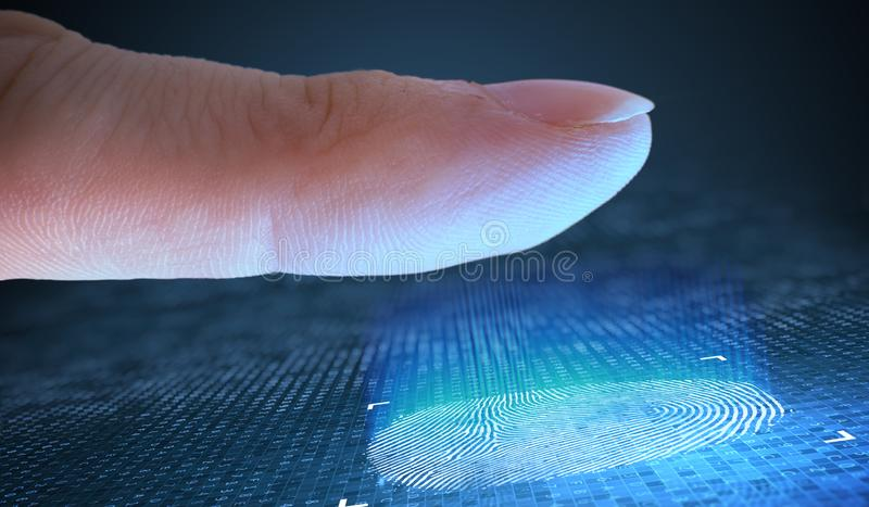 Scanning fingerprint from finger. Security and biometric concept. stock photos